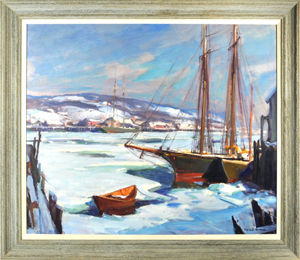 Emille Gruppe, 'Gloucester Winter,' sold for $10,800. Woodbury Auction image.