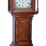 Pennsylvania walnut miniature tall case clock, Hy (Henry) Bower, F. (Feste) Swome, early 19th century. Top lot of the sale: $31,625. Stephenson's Auctioneers image.