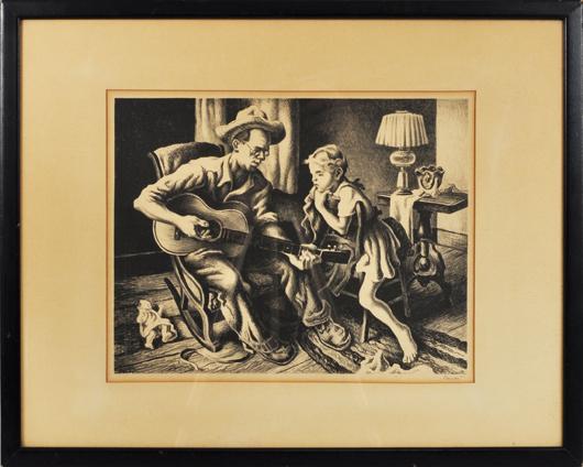 Thomas Hart Benton, 'The Music Lesson': $1,560. Woodbury Auction image.