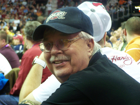 Jan Sorgenfrei, owner of Old Barn Auction, enjoying a Cleveland Cavaliers game.