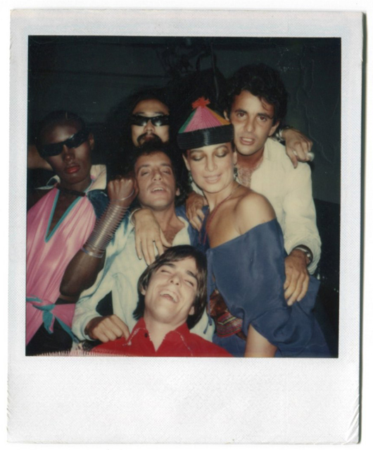 One of several Polaroids in the Rubell collection that were shot by Andy Warhol, this one includes Grace Jones at far left and Rubell at center. Auctioned for $12,000. Image supplied by Palm Beach Modern Auctions.