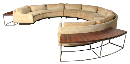 Milo Baughman (American, 1923-2003), 3-piece sectional sofa with revolving cocktail table and two rosewood sofa tables, circa 1970. Auctioned for $9,600. Palm Beach Modern Auctions image.