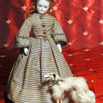 Early French fashion doll by Bru Jne et Cie, 14 inches. Frasher's Doll Auctions image.