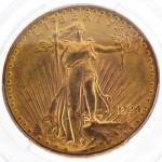 1924 $20 U.S Saint-Gaudens gold coin. Government Auction image.