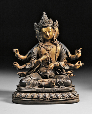 Bronze Buddha, China, 18th/19th century, the four-face, eight-arm figure seated on a single lotus throne, with hand gestures of charity, teaching, and meditation, Qianlong mark on front. Estimate: $800-$1,000. Skinner Inc. image.