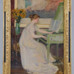 Mary Louise Fairchild (American, 1858-1946), 'Girl Playing a Harpsichord,' 1894, oil on canvas, 30 x 21 in, est. $15,000-$20,000. Morphy Auctions image.