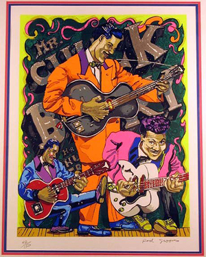 Red Grooms serigraph depicting pioneer rocker Chuck Berry. Image courtesy LiveAuctioneers.com Archive and Witten & Serfer Auctioneers.