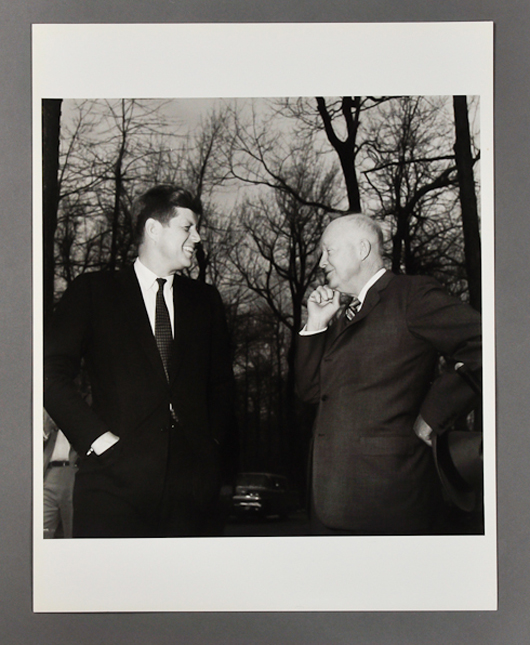 Photograph of John F. Kennedy and Dwight D. Eisenhower. John McInnis Auctioneers image.