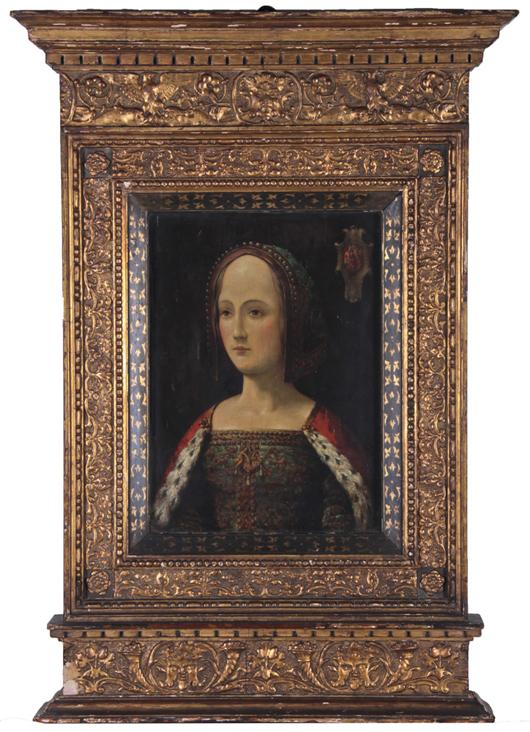 'Portrait of Gabrielle de Bourbon,' depicting the daughter (b. 1460 of Louis I, Count of Montpensier, a direct descendant of Saint Louis (1214-1270), framed size 35¼ x 24 5/8 in., est. $4,000-$6,000. Myers Fine Art image.