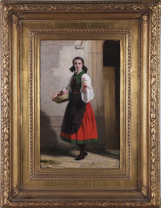 Charles Z. Landelle (French, 1821-1908), 'Flower Offering,' oil on canvas, signed, 36 x 28 framed, est. $6,000-$8,000. Myers Fine Art image.