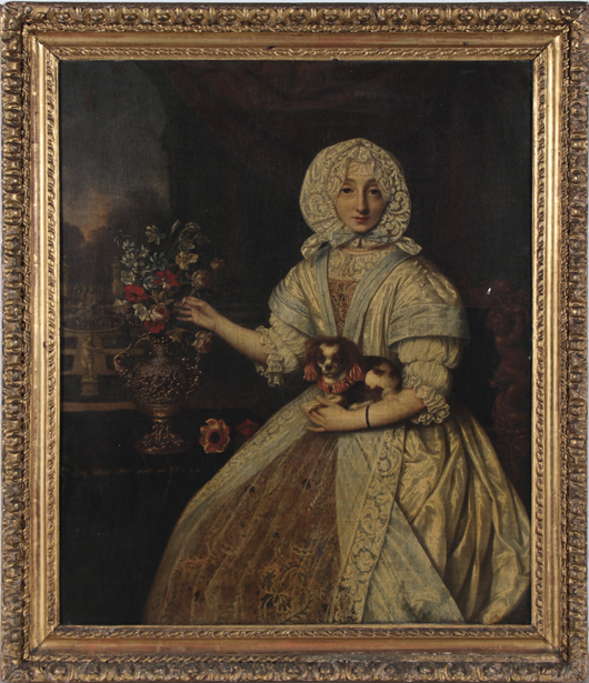 18th/19th-century French portrait of lady holding Cavalier King Charles spaniel. Myers Fine Art image.
