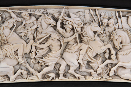 Closeup of high-relief ivory carving on mid-19th-century Continental battle scene plaque, full framed size 11¼ x 25 in. wide, est. $3,000-$5,000. Myers Fine Art image.