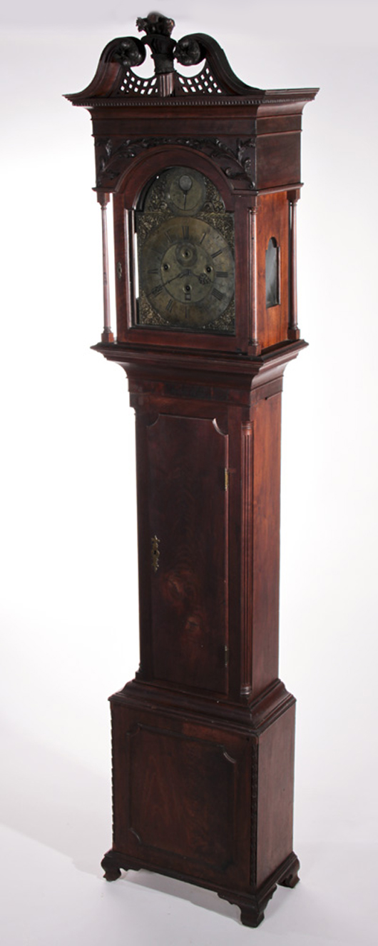 Joshua Wilson (London, 17th/18th centuries), musical moon phase tall-case clock in American carved Chippendale walnut case, 95 in., est. $4,000-$6,000. Myers Fine Art image.
