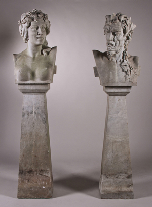 Pair of Bacchanalian 2-piece marble garden herms (boundary markers), 19th century, depicting horned satyr and nude maiden, each having a total height of 62 in., est. $6,000-$9,000. Myers Fine Art image.