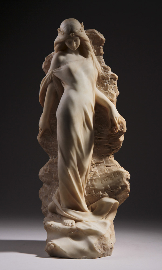 Giuseppe Gambogi (Italian), 'Ophelia,' 19th-century carved marble sculpture, signed, 23½ in., est. $8,000-$10,000. Myers Fine Art image.