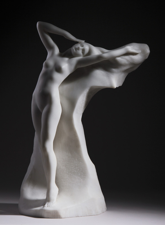 Attilio Piccirilli (Italian, 1866-1945), 'The Flower of the Alps,' carved marble sculpture, signed, 25 ¼ in., est. $10,000-$15,000. Myers Fine Art image.