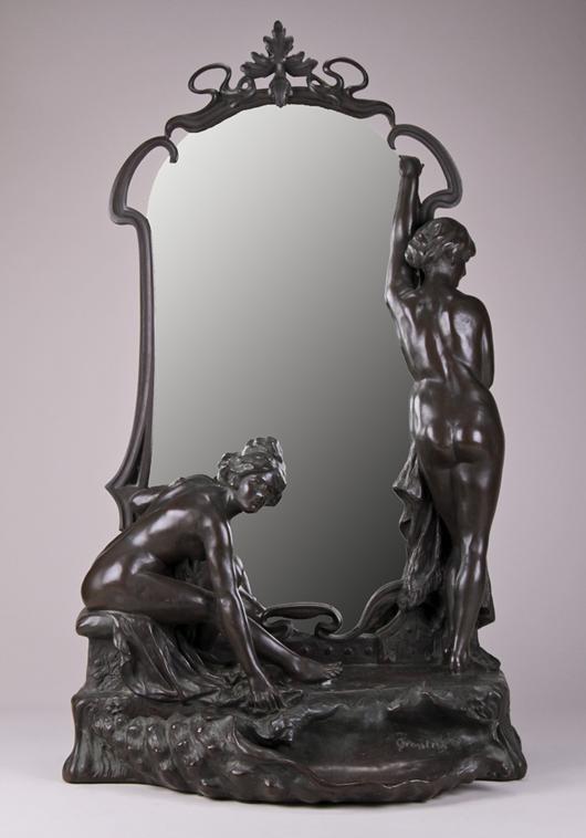 Tommaso Gentile (Italian, 1853-?), circa-1900 bronze mirror, mark of Kunst-Erzgiersserei Vienna foundry, 33¾ in., est. $6,000-$8,000. Myers Fine Art image.