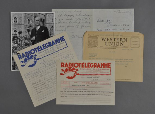 Lot of correspondence from actress Gloria Swanson to Joseph P. Kennedy Sr. including a handwritten letter. John McInnis Auctioneers image.