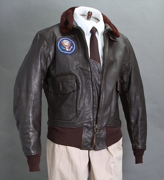 President Kennedy's Air Force One leather bomber jacket. John McInnis Auctioneers image.
