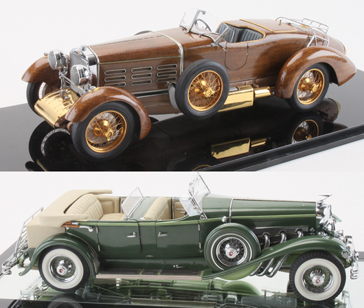 Gerald Wingrove hand-made scale models of a 1924 Hispano-Suiza No. 3 (top) and a 1933 Derham Tourster Duesenberg. Auctioned for $16,100 each. Noel Barrett Auctions image.