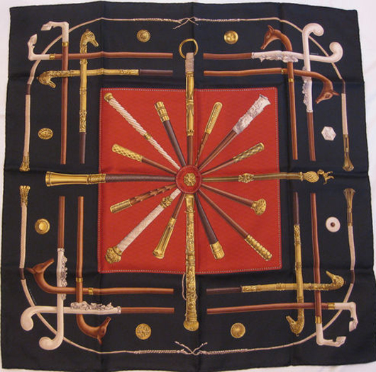 Hemès Cannes et Pommeaux scarf, 100 percent silk, canes motif, like new, 1980s. Estimate: $400-$600. Kimball M. Sterling Inc. image.