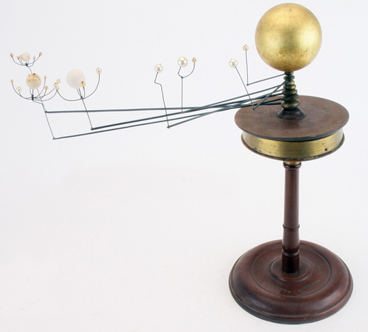 Complex sun orrery with seven arms and multiple globes, marked 'Benjn. Pike Jr. 294 Broadway New York,' $9,200. Noel Barrett Auctions image.