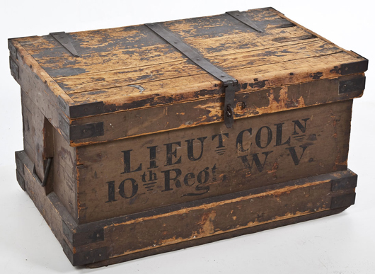 Civil War trunk from the 10th Regiment, West Virginia: $800. Cordier Auctions & Appraisals image.