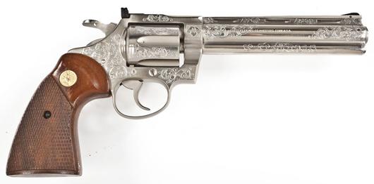 Colt DiamondBack Engraved Revolver-Nickel: $3,500. Cordier Auctions & Appraisals image.