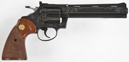 Colt Diamondback engraved revolver, blued: $3,500. Cordier Auctions & Appraisals image.