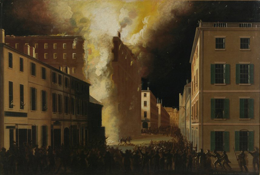 John Ritto Penniman (American, 1782-1841) 'Boston's Exchange Coffee House Burning of 1818,' oil on canvas, 27 3/8 x 41 5/8 inches. Sold: $117,800 (Estimate: $50,000-100,000). Keno Auctions image.