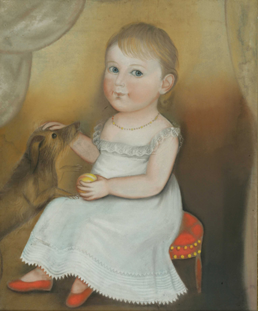 Deacon Robert Peckham (American, 1785-1877) 'Portrait of a Young Child in a White Dress and Red Shoes with Peach and Dog,' pastel on paper, 25 x 20 1/2 inches. Sold: $86,800 (Estimate: $60,000-100,000). Keno Auctions image.