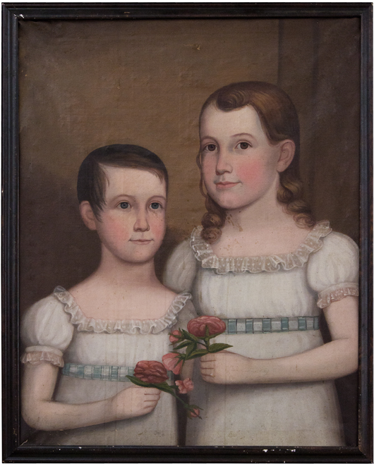 Attributed to John Brewster Jr. (American, 1766-1854) 'Double Portrait of Wealthy Jones Winter and Sarah Marie Winter,' Bath, Maine, circa 1829, oil on canvas, 22 x 17 inches. Sold: $74,400 (Estimate: $40,000-80,000). Keno Auctions image.