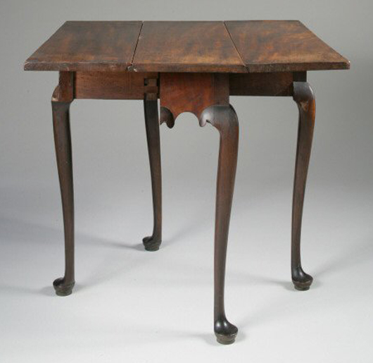 Diminutive Queen Anne mahogany table with rectangular drop leaves, Massachusetts, 1740-1760. Sold $68,200, (estimate: $15,000-30,000). Keno Auctions image.
