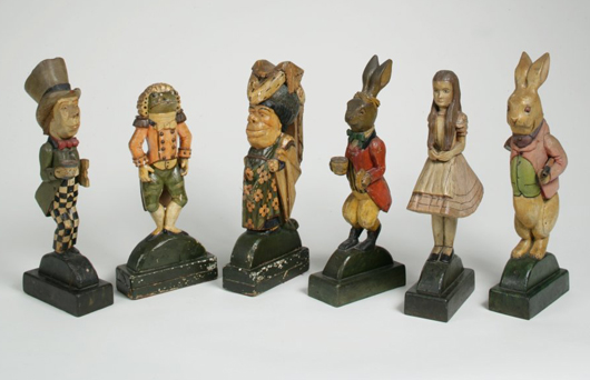 Group of six carved Alice in Wonderland Figures, Augustus Davies (American, 1867-1951) 1925, tallest 17 inches. Sold: $ 39,680 (Estimate: $5,000-8,000). Keno Auctions image.
