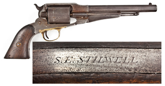 S.E. Stilwell-inscribed Remington New Model Army Conversion revolver: $5,500. Cordier Auctions & Appraisals image.