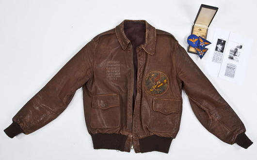 World War II 65 mission-decorated A-2 flight jacket: $1,200. Cordier Auctions & Appraisals image.
