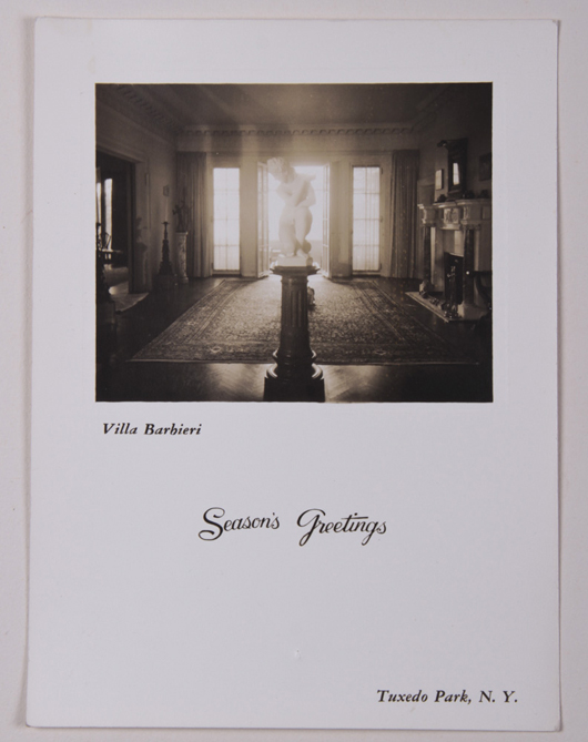 One Christmas during the 1940s, Cesare Barbieri chose a photo of one of the rooms in his Tuxedo Park, N.Y., villa as the main image on his holiday card. The 'Portrait of Gabrielle de Bourbon,' in its distinctive tabernacle frame, is displayed above the mantel. Myers Fine Art image.