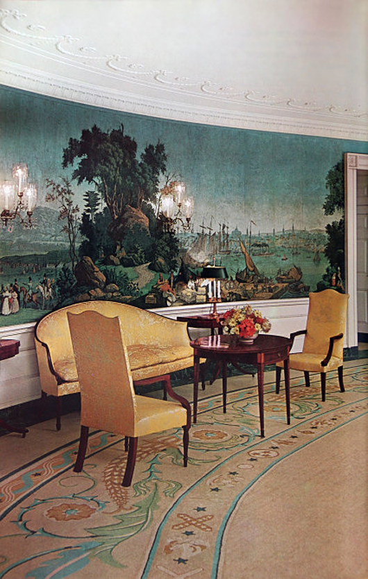 Zuber et Cie. panoramic wallpaper in the 'Views of North America' pattern has decorated the White House Diplomatic Reception Room since the Kennedy era. On Feb. 10, Myers will auction more than 25 unused rolls of wallpaper in this very pattern. Myers Fine Art image.