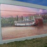 Mural of the Sprague painted on a Vicksburg flood wall. Nicknamed Big Mama, the paddlewheel tug was capable of pushing 56 coal barges at once. Image by Heironymous Rowe. This file is licensed under the Creative Commons Attribution-Share Alike 3.0 Unported license.