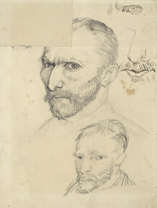 Vincent van Gogh (1853-1890), 'Self-portraits,' Paris 1887, pencil, pen and dark brown ink, on wove paper, to be shown at the special loan exhibition of Van Gogh drawings at the European Fine Art Fair in Maastricht from March 15-24. Image courtesy van Gogh Museum, Amsterdam; Vincent van Gogh Foundation.