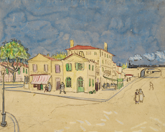 Vincent van Gogh, 'The Yellow House (The Street),' Arles 1888.  Pencil, reed pen, pen and brown ink, opaque and transparent watercolor, on laid paper. Included in the special loan exhibition at the European Fine Art Fair in Maastricht from March 15-24. Image courtesy of Van Gogh Museum, Amsterdam; Vincent van Gogh Foundation.