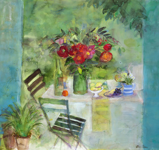 Edinburgh School painter Ann Oram's 'Garden Still Life' in mixed media, which was priced at £8,500 ($13,460) on the stand of London dealer Duncan Miller Fine Arts at the Watercolour and Works on Paper Fair. Image courtesy of Duncan Miller Fine Arts.