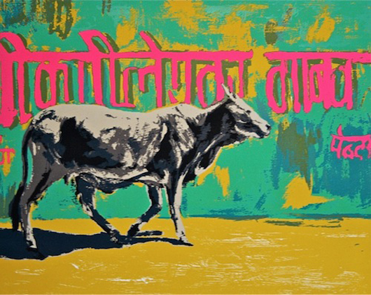 London-based printmaker Natasha Kumar was enjoying a lot of interest in her vibrant prints on her Artshouse stand at the Watercolour and Works on Paper Fair where she was showing this screenprint, 'Holy Cow,' priced at £1,400 ($2,215). Image courtesy of Natasha Kumar.