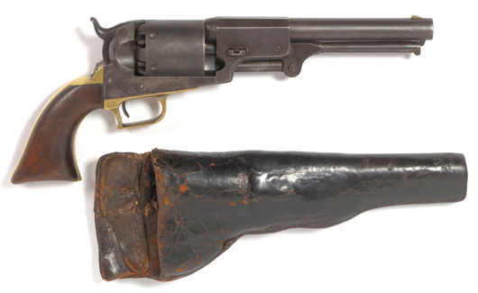 Yorkshire auctioneers Tennants' January sale of arms, armor and militaria included this rare Colt First Model Dragoon six-shot percussion revolver with its original leather holster, which made £4600 ($7,260). Image courtesy of Tennants.