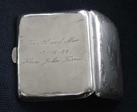 Al Capone's silver cigarette case, which will feature in the 'Gangsters & Gunslingers' exhibition at the American Museum in Britain from March 23  to Nov. 3 at Claverton Manor in Bath. Image courtesy of the American Museum in Britain.