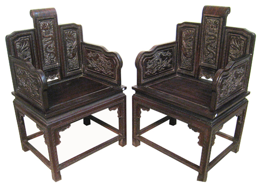 This pair of Chinese zitan chairs with fine and sophisticated carving sold for $10,200. Gordon S. Converse & Co. image.