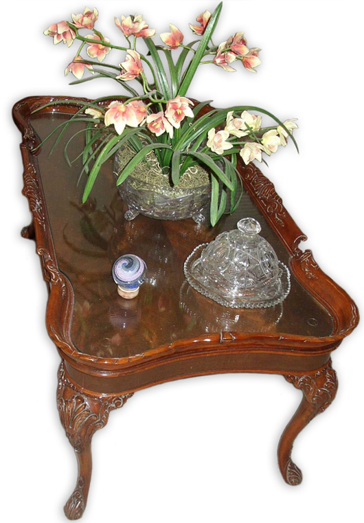 A Piece Of Custom Cut Glass Has Protected The Crotch Mahogany Top Of This  Depression