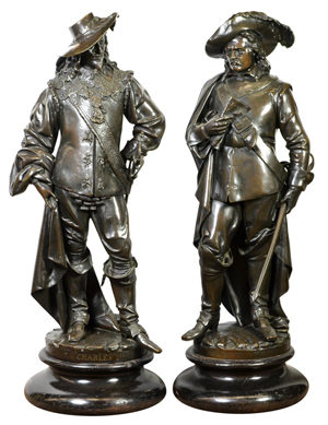 These two rare bronzes by Albert Ernest Carrier-Belleuse (French, 1824-1887), titled 'Oliver Cromwell' and 'King Charles I,' carry an estimate of $12,000 to $16,000 each. Clars Auction Gallery image.
