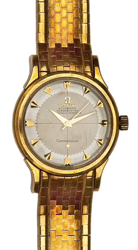 18K Omega Constellation wristwatch. Price realized: ($4,000. Cordier Auctions.