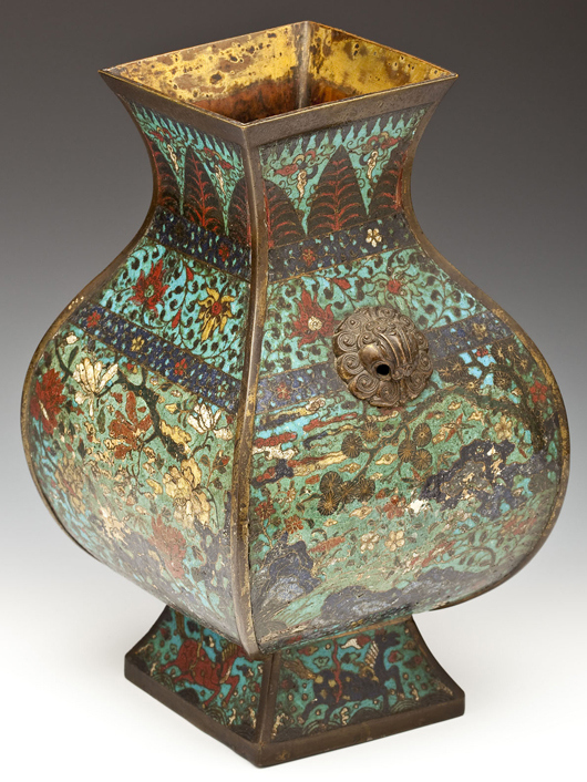 18th century Chinese Hu cloisonné vase. Price realized: $9,000. Cordier Auctions.